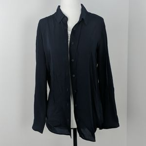 Uniqlo Women Rayon Long Sleeve Blouse | Navy | S